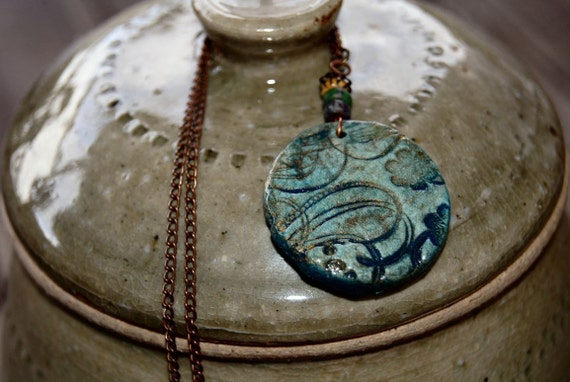 Blue Earthen Clay Pendant with Czech Rocaille Seed Beads