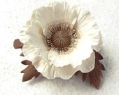 "Polymer clay barrette white brown  beige poppy ""White poppy"". Clay flower jewelry - SilverSeagullArt"
