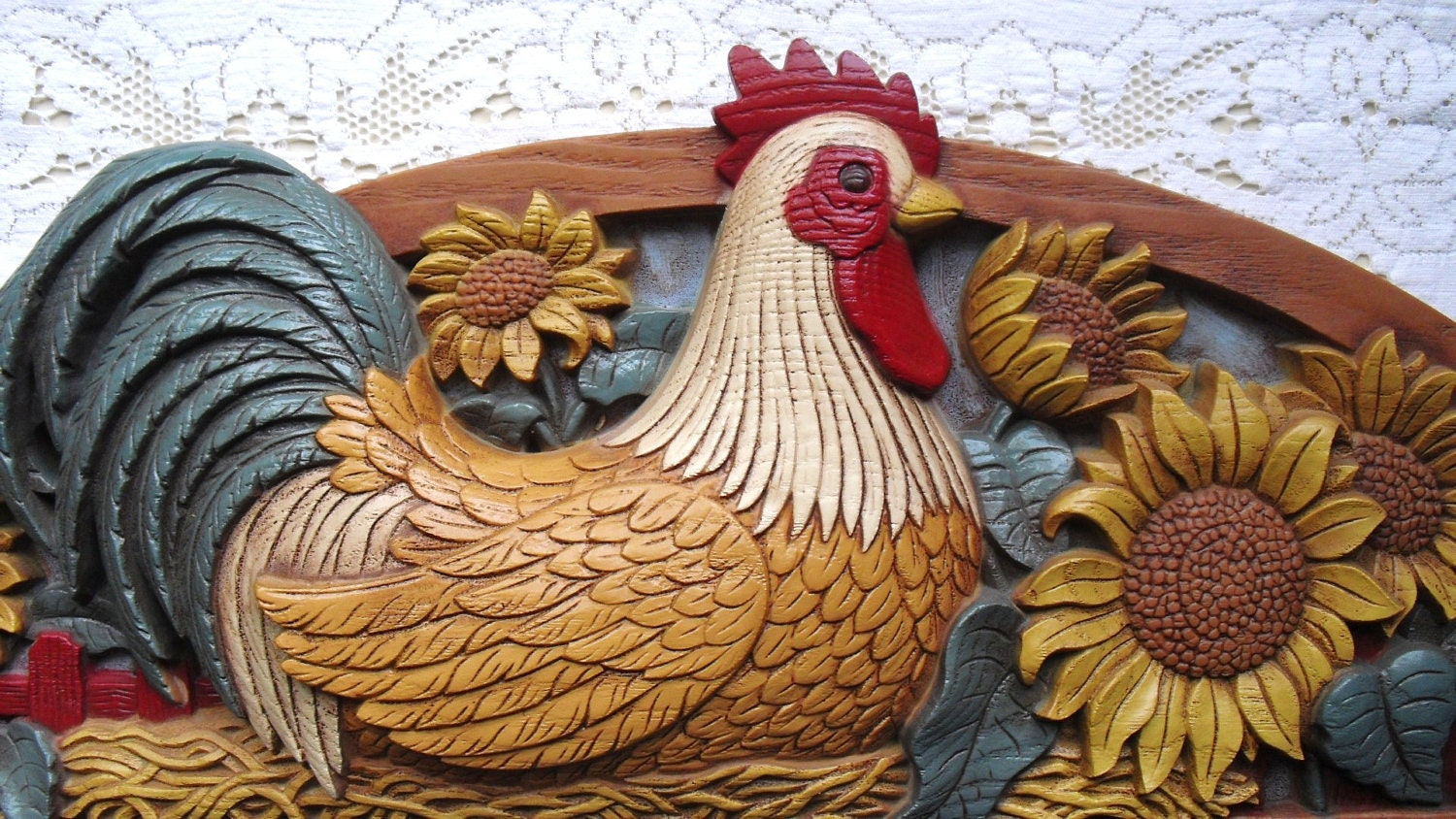 Vintage French Country Rooster Wall Plaque