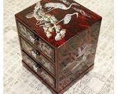 Lacquer ware inlaid new mother of pearl handcrafted jewelry case,3 drawer jewel box trinket box Crane Design