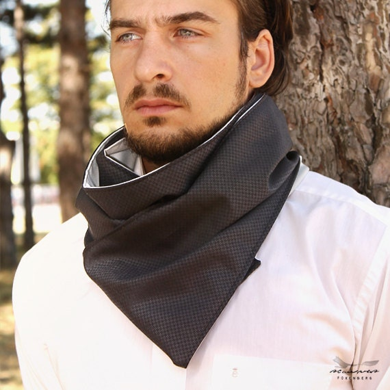 Long Cotton Scarf for Men Reversible light by FoxenbergScarves 100 Cotton Scarves For Men
