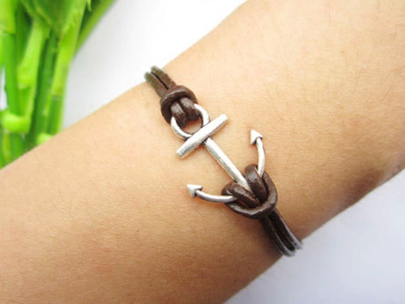 Anchor bracelet,antique silver bracelet,small anchor pendant,leather bracelet,alloy bracelet