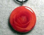 Orange Rose Necklace Pendant - sherrollsdesigns