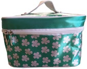 White Flowers Green Field Cosmetic Make up Bag - Holiday Travel Bag