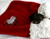 Christmas Time Cuddle Sack Red Tissavel Fur and Soft Cream Minky Fur - DataDesignBoutique