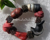 Free S&H - Artful, Bracelet - Black/White- Earthy Red - no Ordinary Beads - Bracelet - StudioSabine