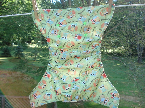Green Owls One Size Adjustable Pocket Cloth Diaper  Diaper Cover