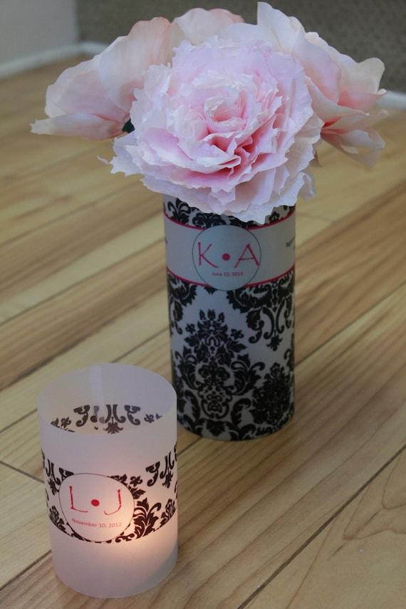 Damask Wedding Centerpieces, Damask Wedding Vases, Custom Wedding Vases, Black and White Wedding, Personalized Vases