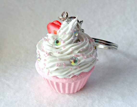 Kawaii Cupcake Charm Keychain, Strawberry :)