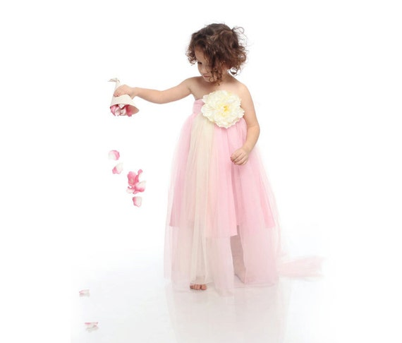 "Children cloting, flower girl dress, pink and ivory todller dress with ivory flower, princess tutu dress ""SUMMER DREAM"","