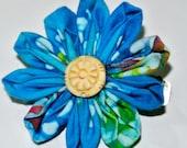 Blue tye dye daisy petal kanzashi hair flower clip