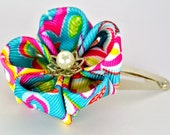Hot pink yellow and turquoise grosgrain ribbon kanzashi flower snap barrette