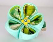 Light blue, green and white double layered grosgrain ribbon kanzashi hair flower clip