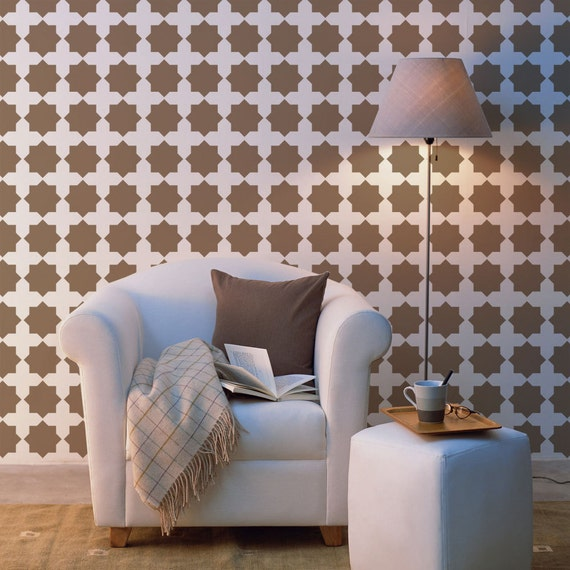 Star-Diamond Wall Stencil reusable