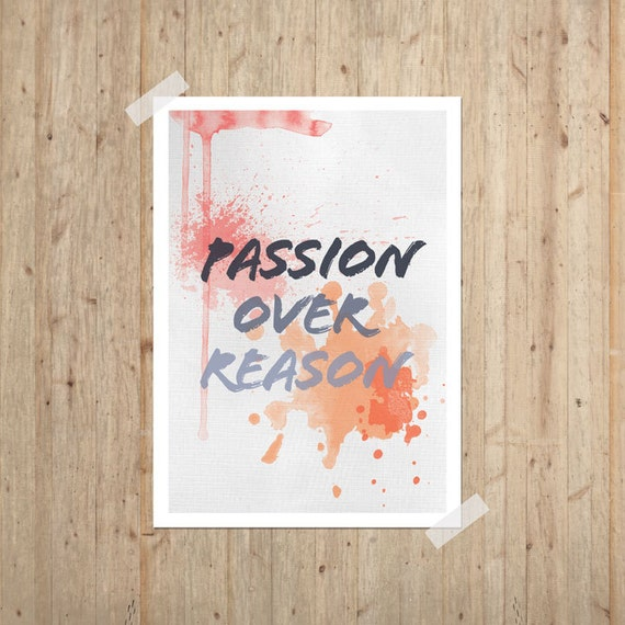 Passion Art Print 11x14 Typography Poster Inspirational Motivational Watercolor Painting Texture Coral Tangerine