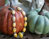 Turquoise Carved Pumpkin Melon Necklace For the Fall Season - GayaDesigns
