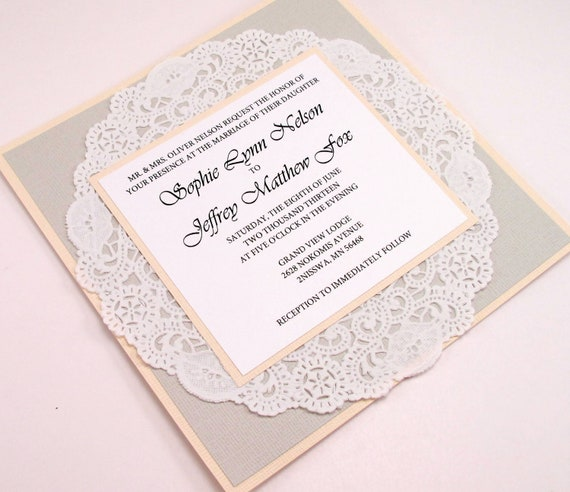 Vintage Lace Doily Wedding Invitation