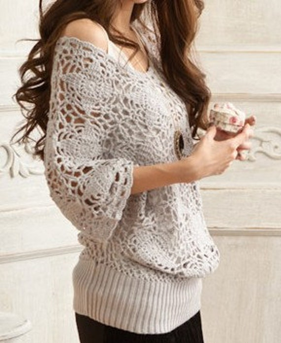 Women sweater lovely hook flower hollow-out sweater--SW033