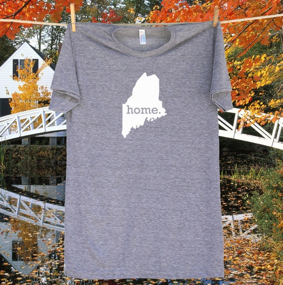Maine Home State Tee Shirt T-Shirt - Unisex Sizes S MD LG and XL - Grey or Navy Blue