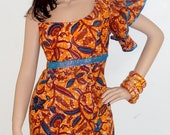 African blue and orange Wax Print Dress