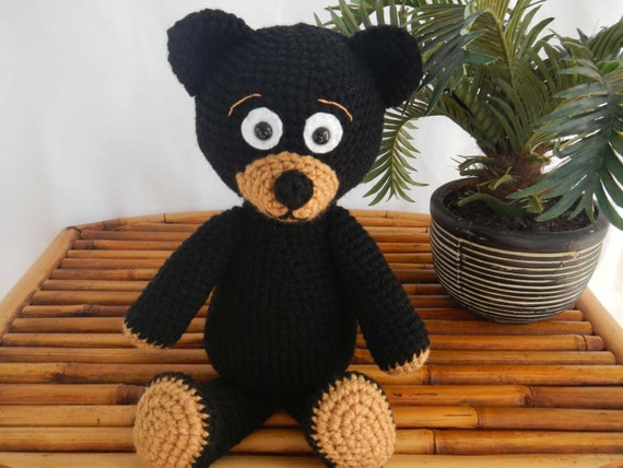 Teddy Bear Crochet Pattern: Black Bear Instant PDF Crochet Amigurumi Pattern Download