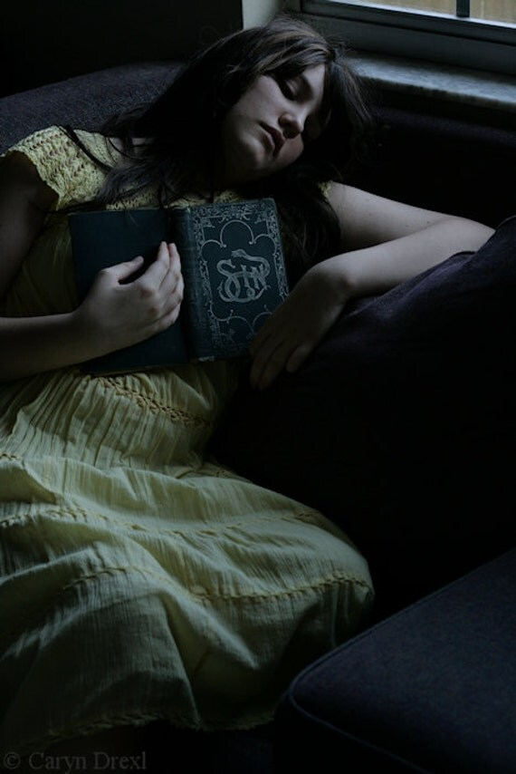 Learning to Sin - FREE SHIPPING 8x12 Print Girl Antique Book Vintage Snakes Dark Evil Yellow Light Photo Art Portrait