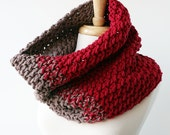 Chunky Knit Oversized Cowl - Luxurious Merino Wool Colorblock Cowl Scarf - Fall Fashion Winter Fashion - TickledPinkKnits