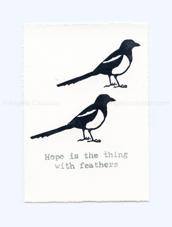 Magpie, Hand Stamped, Print