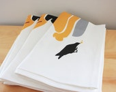 Blackbirds Baked in a Pie Tea Towel - Linen Cotton 18 x 24 inch - wickedmint