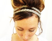 Gray Marble HEADBAND - Ages 4 to Adult, Stretchy, Acryic Wool Yarn, Elastic, Brown Bead, Double Strand, Hippie, Boho, Crochet, Yarnival. - theyarnival