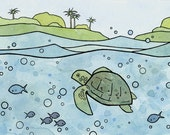 Sea Turtle Whimsical Illustration Print 5x7