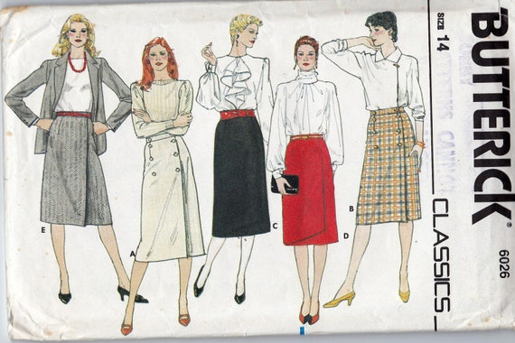 80s Vintage Sewing Pattern Skirts  Butterick 6026 Size 14 waist 28