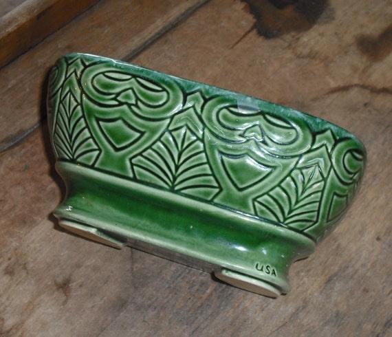 Vintage USA Pottery Green Planter Vase Bowl Owl Design Art Deco Retro Home Decor Kitchen Dining Entertaining Party Rectangle