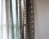Custom printed linen curtain panel by Lovely Home Idea. New Zigzag Chevron Herringbone home linens collection. - LovelyHomeIdea