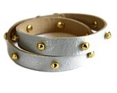 Studded Leather Wrap Bracelet - Matte Silver - shopkei