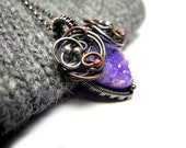Wire wrapped silver copper necklace, raw Quartz druzy, amethyst lilac pastel purple, feminine, luxury, romantic braidsmaid - NurrgulaJewellery