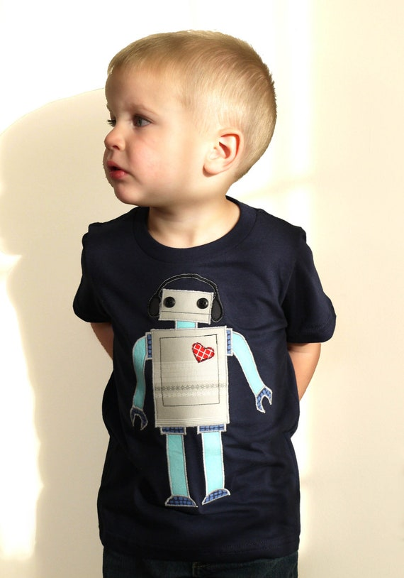 Boy's / children's robot tshirt / top, made with recycled fabric applique - red and teal - by stitch & spoke