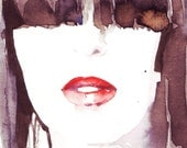 Print of Watercolor Painting, Fashion Illustration, Watercolor Painting, illustration by Ioana Avram, red lips and black hair