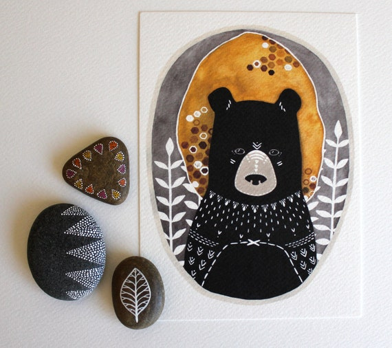 Bear Illustration - Animal Art Painting - Black Friday Cyber Monday - Archival Print - 5x7 Rafi the Honey Bear
