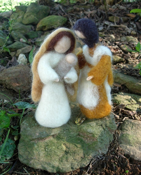Nativity Doll Set- Needle Felted Mary, Joseph, Jesus and Manger Childrens Waldorf Inspired
