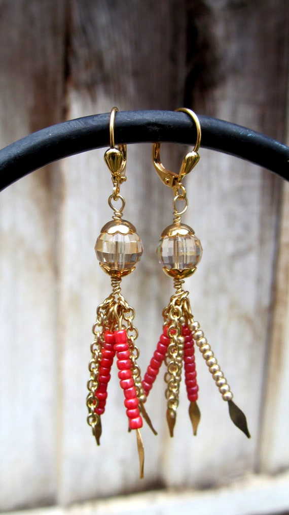 Red and gold dangle earrings - christmas - crystal