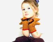 Brown fingerless gloves Autumn flowered Gloves Girls knitted fingerless gloves with a flower Wool gloves - bboutiquebeauties