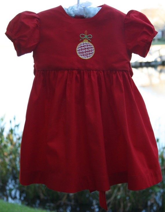 Red Christmas Dress with Embroidered Ornament