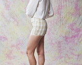 """magicphoenixvintage // Gold Plaid Short Shorts // Upcycled Vintage Designer One of a Kind // White Metallic Gold // Charmeuse  //26"""" Waist - magicphoenixvintage"""