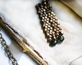 Forest Green Earrings, Emerald Green Tourmaline Gemstone, Earthy Earrings, Modern Brass Jewelry, Rustic - CaprichosaJewelry