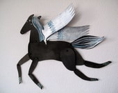 Silver Winged Black Horse Articulated Decoration  / Hinged Beasts Series - benconservato