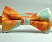 Orange and Blue Floral Boy's Bow Tie - MeandMatilda