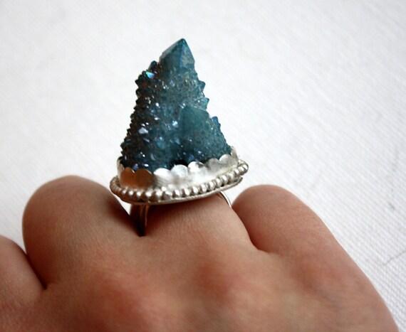 Blue Aqua Aura Drusy Quartz Statement Cocktail Ring- Handmade One of a Kind by Rachel Pfeffer