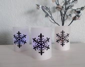 Modern Holiday Snowflake Tealight Luminaries - Set of 3 - Great for Parties - Weddings - Home Decor