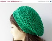 Bright Green Crocheted Beret,   Chunky Winter Hat,  Over Sized Slouchy Hat - beadedwire